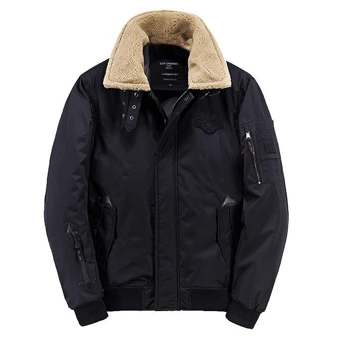 Betrothales Chaquetas Hombre Chaquetas Otoño Longsleeve Chaquetones Bomber Invierno Fashion Chaqueta Warm Leisure Solapel Pilot Jacket Coat Colores Sólidos: ...