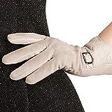 Nappaglo Nappa Leather Gloves Warm Lining Suede Lambskin for Women (S, Beige)