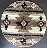 Southwest Round Native American Area Rug Ivory Design C318 (5 Feet X 5 Feet Round)