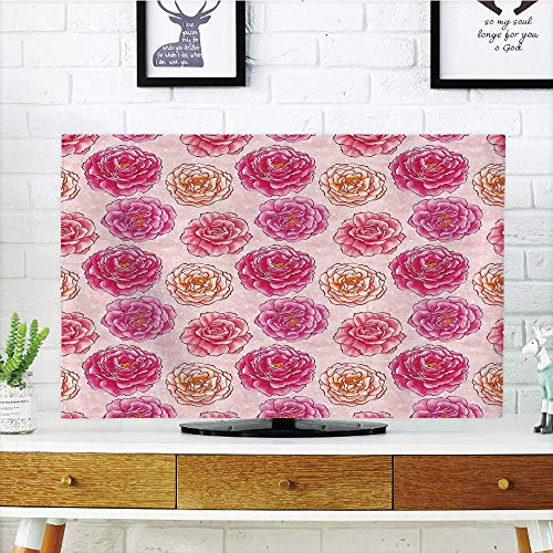 Premium LCD TV dust Cover Strong Durability,Floral,Romantic Rose Petals Fragrance Bouquets Love Classic Blooms Graphic,Magenta Light Pink Coral,Picture Print Compatible 55