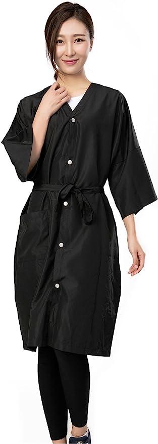 Bata de peluquería para cliente estilo kimono, Capa de corte para peluquería – 5 botones
