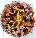 Yellow Fall Burlap Thanksgiving Autumn Monogram Door Wreath; Maroon Red Brown Orange : F2