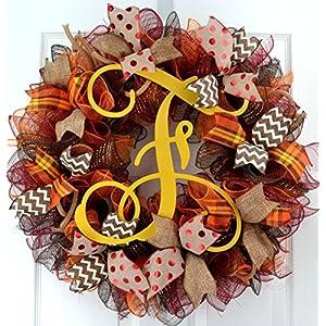 Yellow Fall Burlap Thanksgiving Autumn Monogram Door Wreath; Maroon Red Brown Orange : F2 5