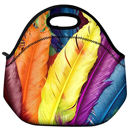 WATERFLY Colorful Feather Style Travel Outdoor Cooler Thermal Neoprene Lunch Bag Picnic Tote Box Container Insulated Zip Out Removable School Carry Handle Tote Lunch Bag