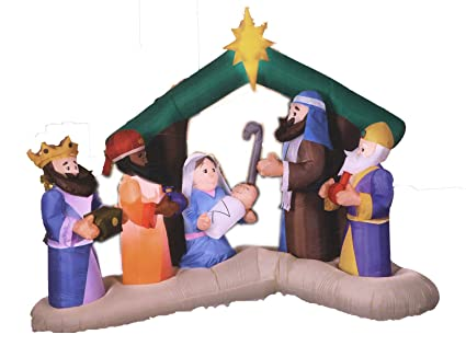 the latest 1080e 8bbbb Airblown Inflatable Christmas Nativity Set, Holy Family Wise Men, Lights  Up, 8 Feet Wide