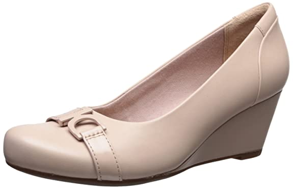 Clarks Women's Flores Poppy Pump, Cream Leather, 9 Medium US