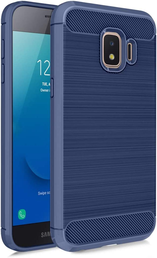 MMDcase Samsung Galaxy J2 Core Case,J2 2019/ J2 Dash/ J2 Pure/ J2 Shine/SM-J260 Phone Case with Screen Protector,Carbon Fiber Soft TPU Brushed Texture Full-Body Protective Cover for Men/Boys, Navy