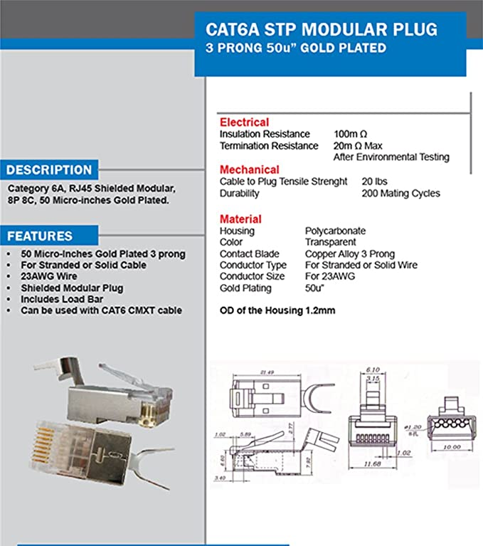 cat6a stp rj45 shielded modular plug - 10 pieces: amazon in: computers &  accessories