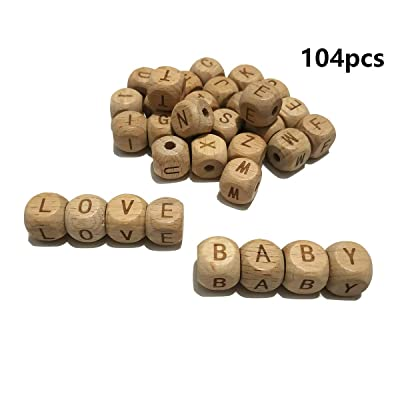 104pcs Square Wood Alphabet Beads Teether 12MM Natural Beech Wooden Letter Beads for Jewelry Toys Making DIY Baby Teething Necklace (104pcs Wooden Letter Beads): Toys & Games