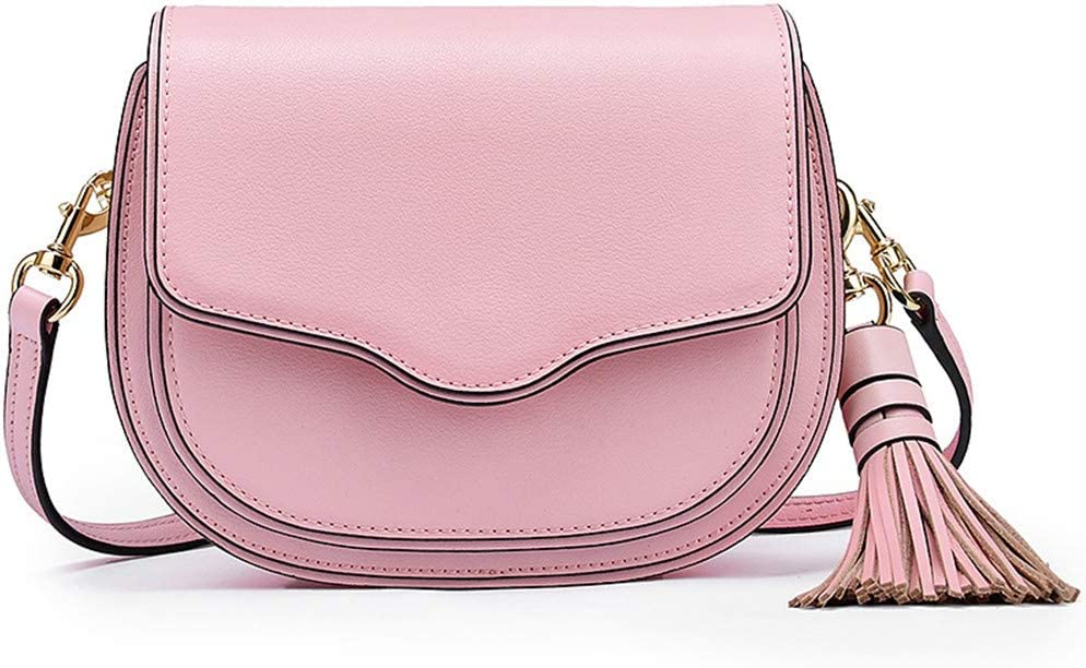 MESST Nuova Borsa a Tracolla da Donna, Borsa a Tracolla di Moda in Pelle di Vacchetta di Alto Livello, Borsa a Tracolla a Tracolla da Donna,Nero Pink