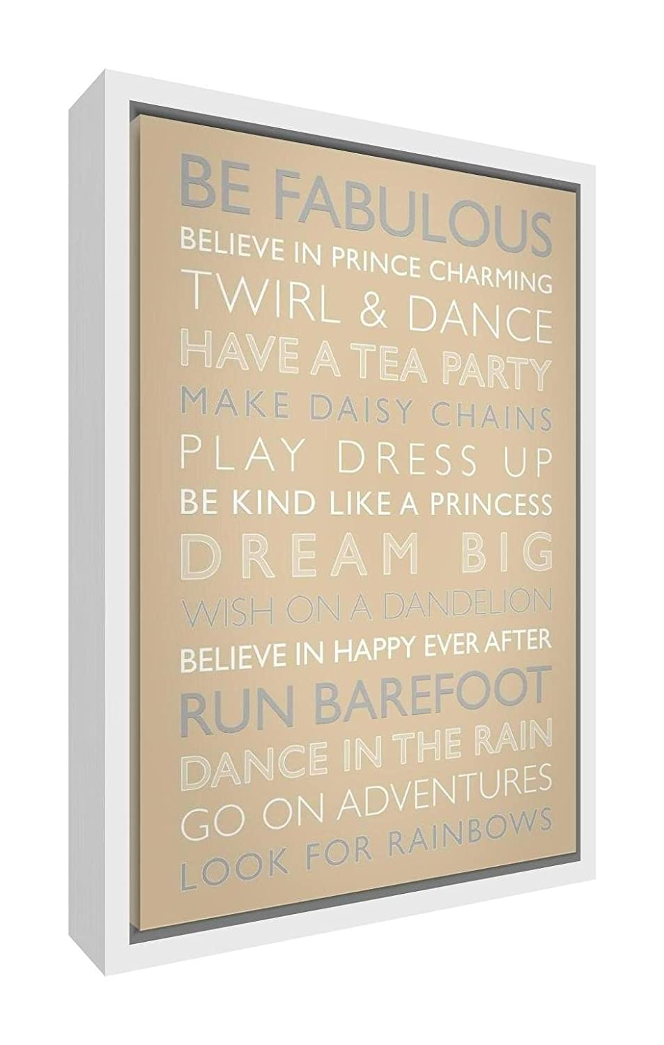 Feel Good Art Eco-Printed and Framed Nursery Canvas with solid White Wooden Frame (64 x 44 x 3 cm, Large, Lilac, Girls Rules) GIRLSRULES-1624FCWHT-16