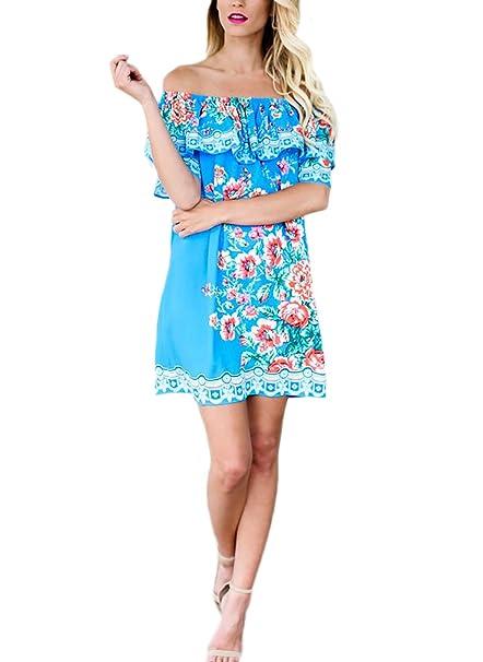 ... Floral Elegantes Hombro Descubierto Cuello Barco Volantes Suelto Bohemio Vestidos Playa Vestidos Camiseros Vestido Corto: Amazon.es: Ropa y accesorios