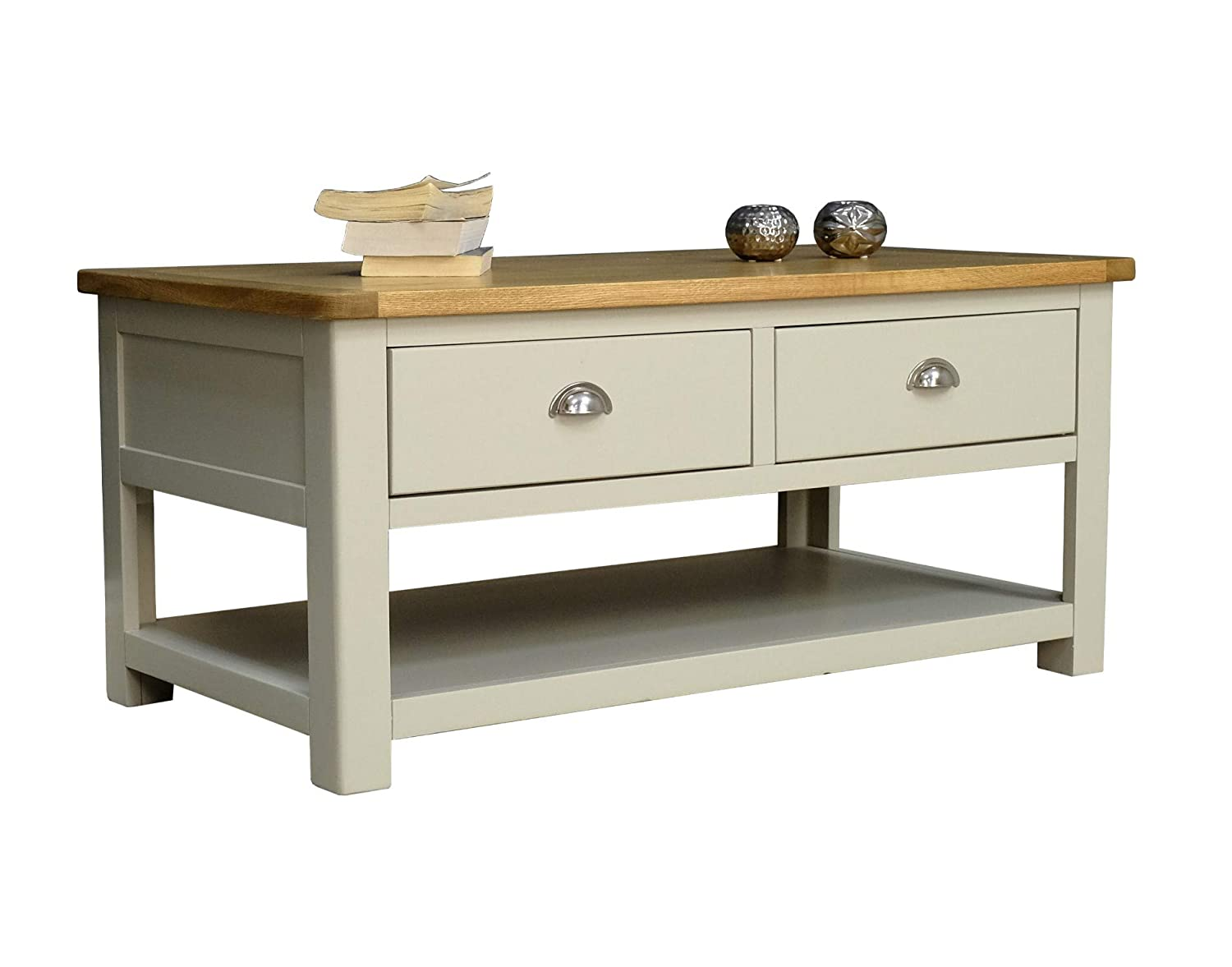 Aspen painted oak sage grey 2 drawer coffee table storage with shelf living room furniture amazon co uk kitchen home