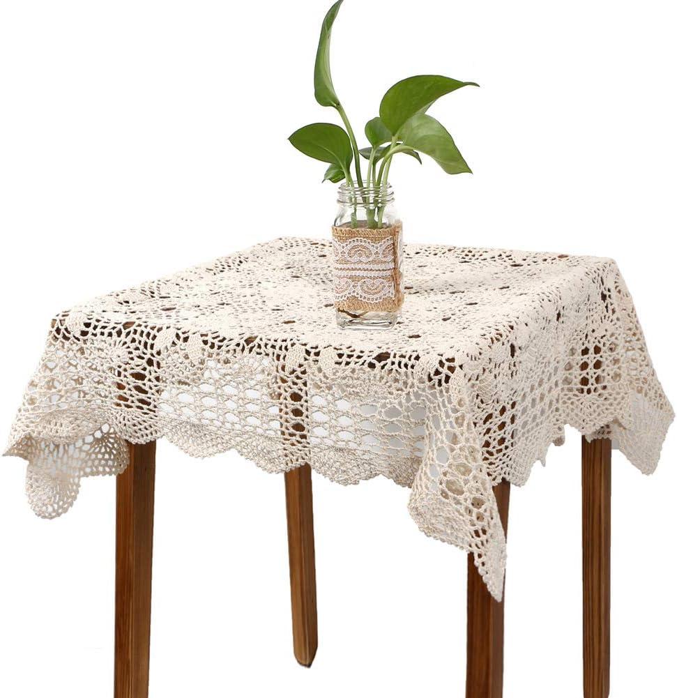 yazi Handmade Crochet Sofa Doily Cotton Lace Table Placemats Sofa Doilies, Square Beige Color 31.5inch