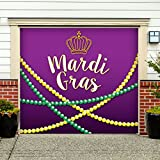 Outdoor Mardi Gras Decorations Garage Door Banner Cover Mural Décoration 7'x8' - Mardi Gras Beads - ''The Original Mardi Gras Supplies Holiday Garage Door Banner Decor''