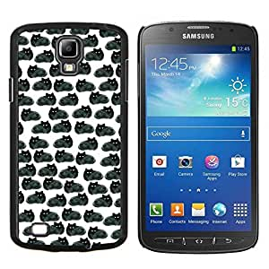 TECHCASE---Cubierta de la caja de protección para la piel dura ** Samsung Galaxy S4 Active i9295 ** --Dibujo Negro Gatos Wallpaper