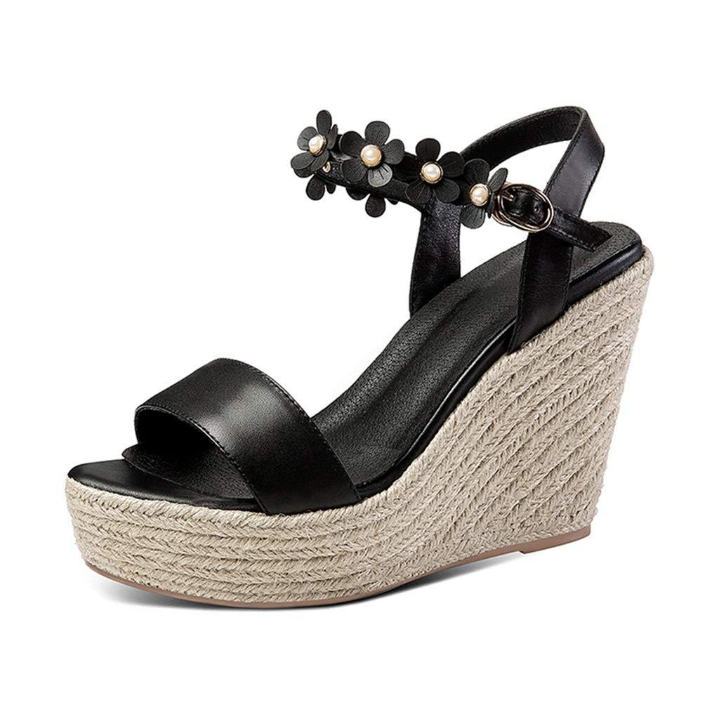 noir Hommesg Wei Shop Sandales Compensées Compensées Compensées Escarpins en Cuir D'été Sandales à Plateforme Confortables Chaussures pour Femmes à La Mode Talons Hauts à Bout Ouvert Haut 11cm (Couleur   Blanc, Taille   39 US7.5) c67