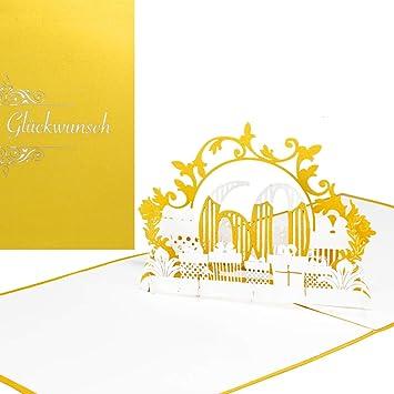 Pop Up Karte 60 In Gold Weiss Zum 60 Geburtstag Hochzeitstag