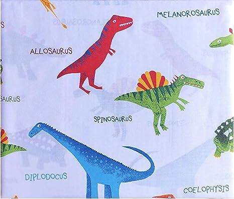 3 Piece Twin Size Sheet Set for Kids Dinosaur White Red Green Orange Yellow Light Blue New