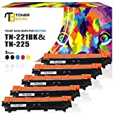 Toner Bank 5 Pack Compatible for Brother TN221 TN-221 TN225 TN-225 for Brother HL-3140CW HL-3170CDW HL-3180CDW MFC-9130CW MFC-9330CDW MFC-9340CDW Priunter (2 Black,1 Cyan,1 Magenta,1 Yellow)
