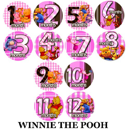 (Baby Monthly Photo Stickers For Bodysuits PINK WINNIE THE POOH Baby Month Onesie Stickers Baby Shower Gift Photo Shower Stickers, baby shower gift by OnesieStickers)
