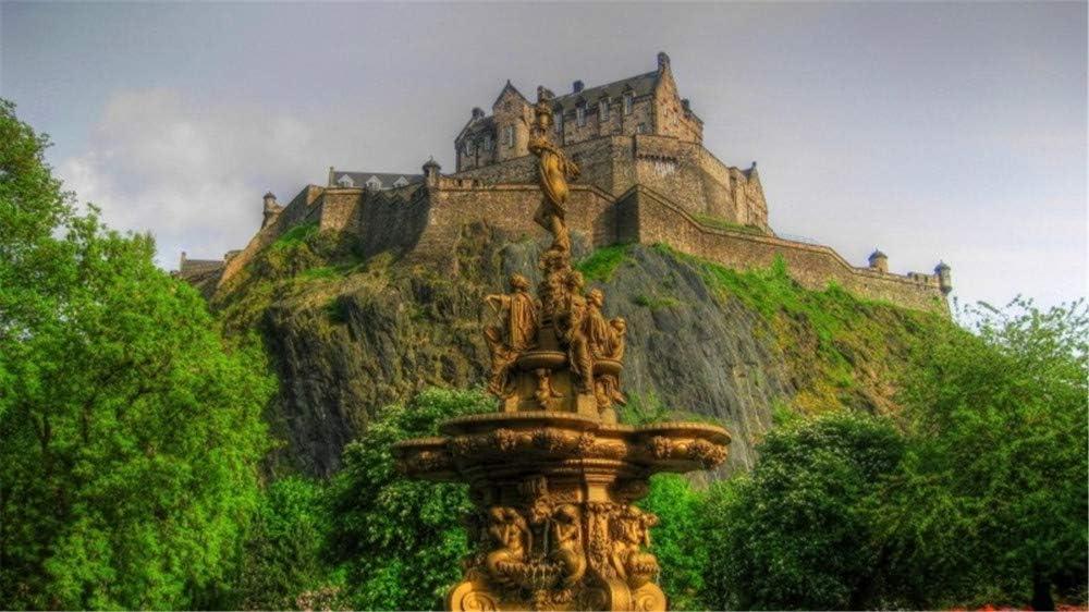 WACYDSD Pintar por números Castillo de Edimburgo Fuente de Escocia Pintura al óleo Pintada a Mano DIY para Las Ilustraciones caseras de la decoración de la Pared sin Marco: Amazon.es: Juguetes y