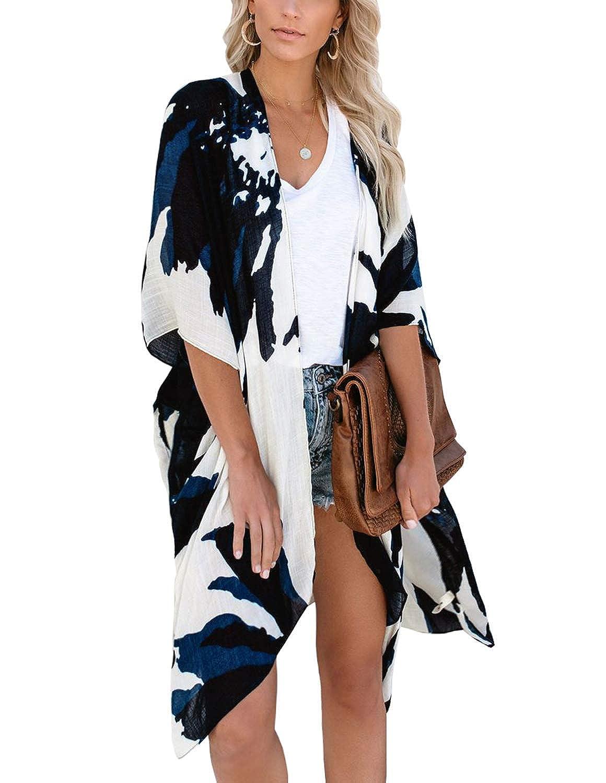 ChainJoy Women/'s Chiffon Long Kimono Sheer Loose Cardigan Lightweight Breathable Cover ups