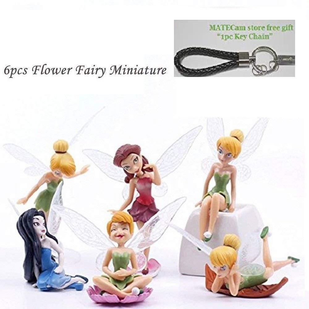 MateCam Feen-Figuren, verschiedene Miniatur-Figuren mit Blumen, Garten, Blumentopf, Puppenhaus-Dekoration, 6Stück 6Stück MATECam Figurine