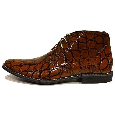 Modello Ezechiele - Cuero Italiano Hecho A Mano Hombre Piel Color Marrón Chukka Botas Botines - Cuero Charol - Encaje: Amazon.es: Zapatos y complementos