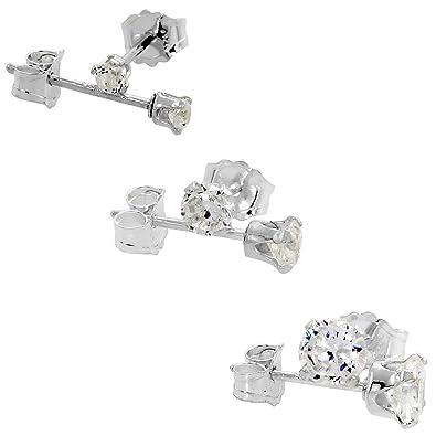Fine Jewelry Sterling Silver Square Cubic Zirconia Earring Set jKGMdN9