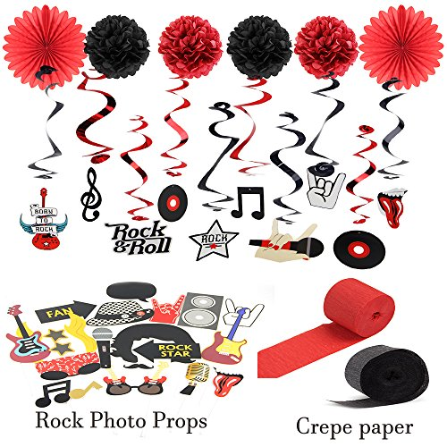 Rock & Roll Party Decorations Kit Hanging Foil
