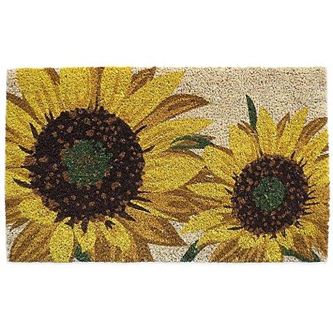 """Nourison Sunflower 18-inch x 30-inch Coir Door Mat, 100% coir, Oversized sunflowers Print, 30"""" L x 18"""" W, Beige"""