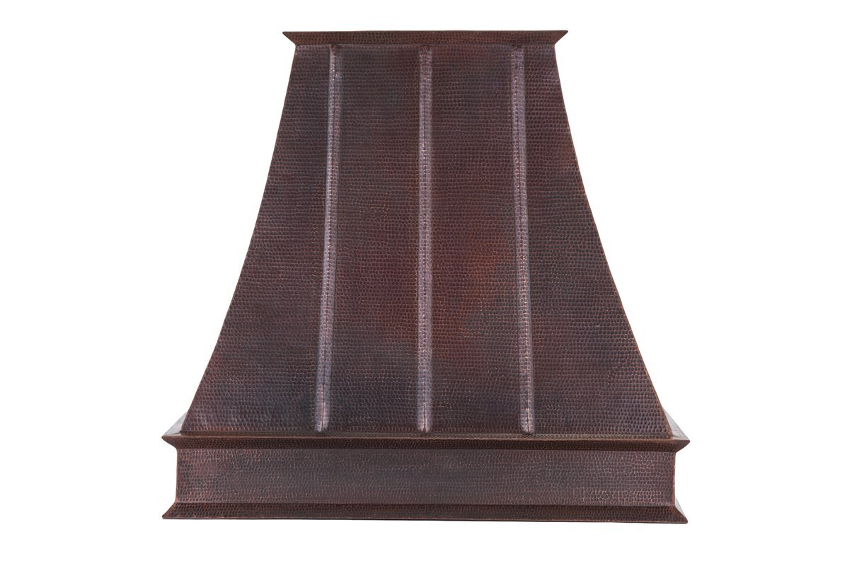 38 in. Hand Hammered Copper Wall Mounted Euro Range Hood (625 CFM with Baffle Filters) by Premier Copper Products