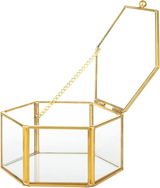 Feyarl - Joyero de oro con forma de flor, caja decorativa de cristal: Amazon.es: Bricolaje y herramientas