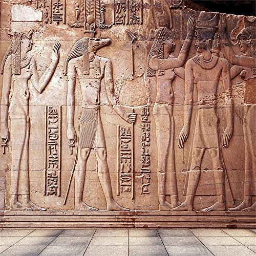 Laeacco 8x8FT Vinyl Photography Background Antike Ancient Egyptian Sculpture Wall Historic Square Tile Floor Background Children Adults 2.5(W)x2.5(H)m Backdrop for Video Photo Studio Props