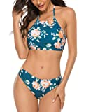 Naggoo Women's Sexy Halter Leaves Print 2 Piece Swimsuit Padding Bikini Set