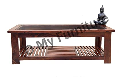O My Furniture Strip Design Wooden Coffee Table With Teak Finish Brown Amazon In Home Kitchen