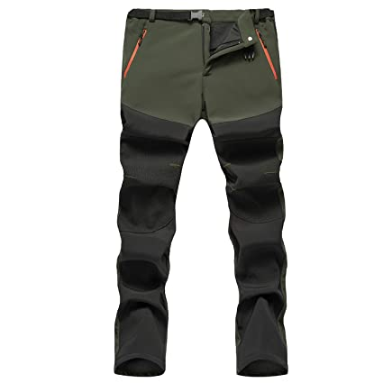 SUKUTU Pantaloni da Escursionismo Foderati in Pile Softshell da Uomo Pantaloni Impermeabili Invernali Antivento Caldi
