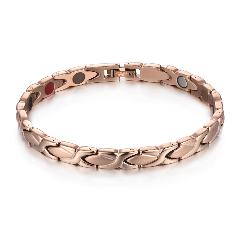 38 Elegant Titanium Magnetic Therapy Bracelet Germanium 5 Element for Relief Arthritis Anxiety Healthy Jewelry with Free Link Removal Tool (Rose Gold) by 38
