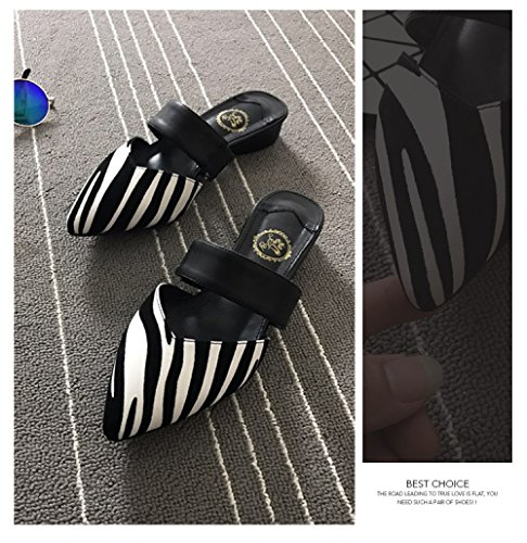 Shaped Acentuados Sandalias V Y Zapatillas del blackandwhitestripes Salvajes Zapatillas Las Zapatos Verano Medias Jefe del Manera Planos Las Deporte Señoras Las De YXLONG De Los La Calzan De Swq7ndSCA5
