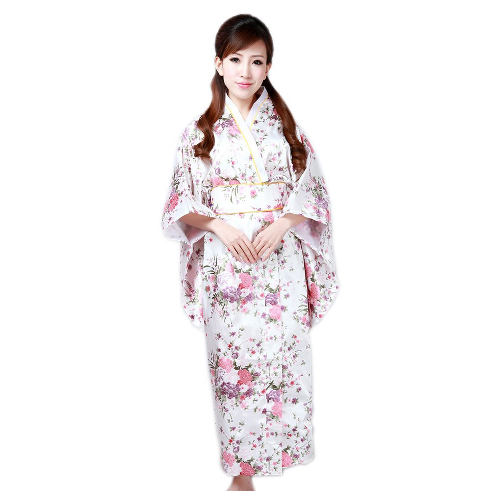 COCONEEN Women's Traditional Japanese Kimono Robe Costume White
