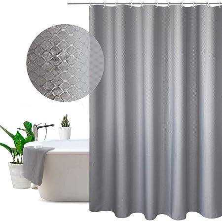 EurCross Fabric Shower Curtain Grey 180 200CMExtra Long Waterproof Mildew Resistant Polyester Bathroom
