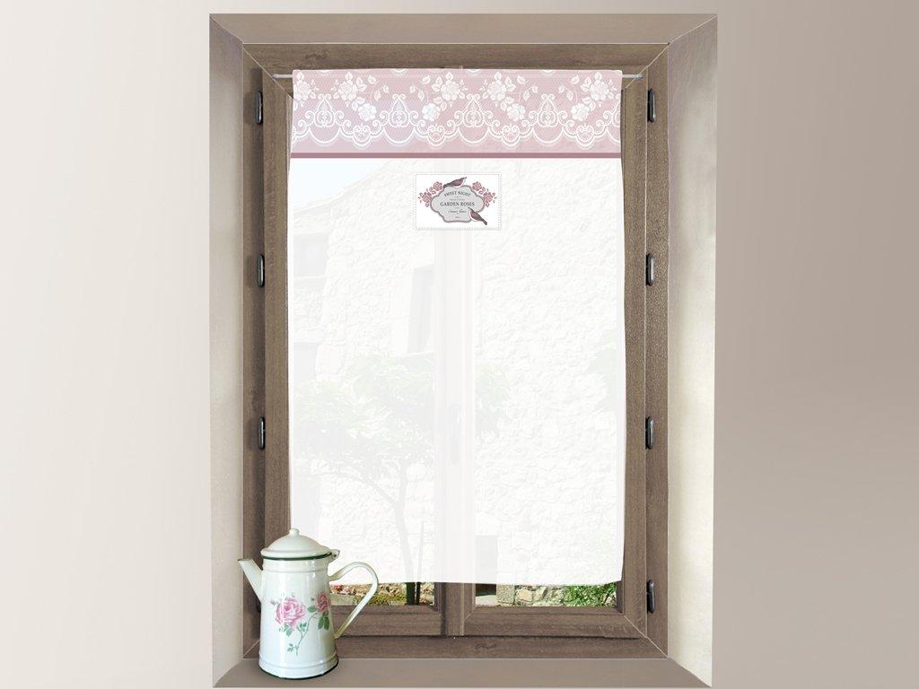diSoleil dOcre Decorazioni per finestre Tendina a vetro in cotone 60x90 cm GARDEN rosa