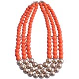 Lureme® Gold Tone Orange Bead 3 Strands Chunky Clasp Necklace for Women Teen Girls 01001616