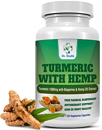 Turmeric Curcumin 1500mg Plus Turmeric 95 Curcuminoids with Hemp Oil Extract BioPerine Black Pepper Extract Joint Pain Relief Natural Formula Powerful Antioxidant 120 Veggie Capsules Made in USA
