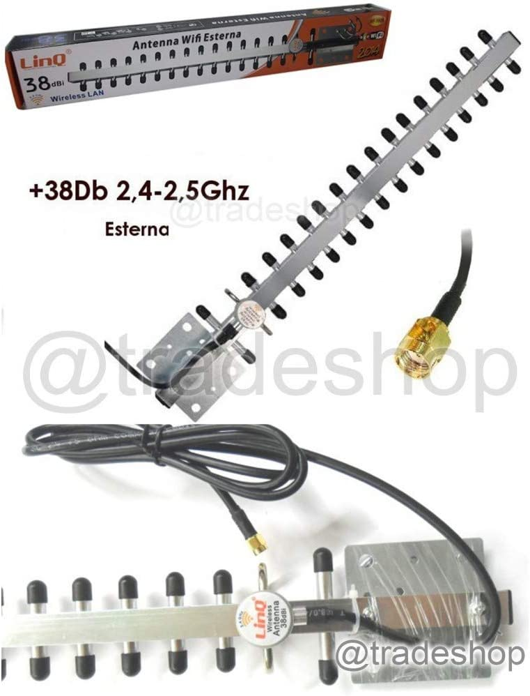 Antena WiFi Externa 38dbi 2.4 – 2.5 GHz para Exterior inalámbrico