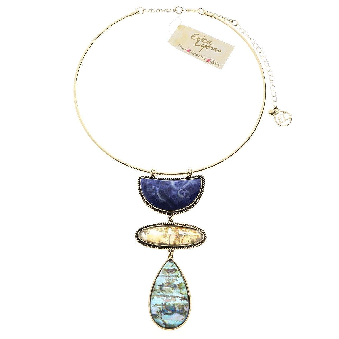 Erica Lyons Collar-Necklace Gold-Tone//Blue