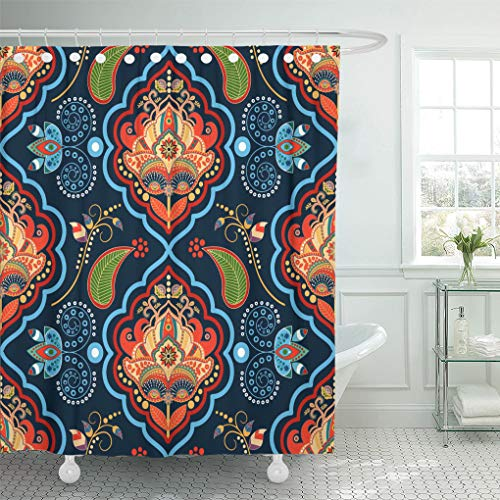 (Emvency Shower Curtain Pattern Indian Floral Gold and Blue Batik Decoupage Flower Shower Curtains Sets with Hooks 72 x 78 Inches Waterproof Polyester)