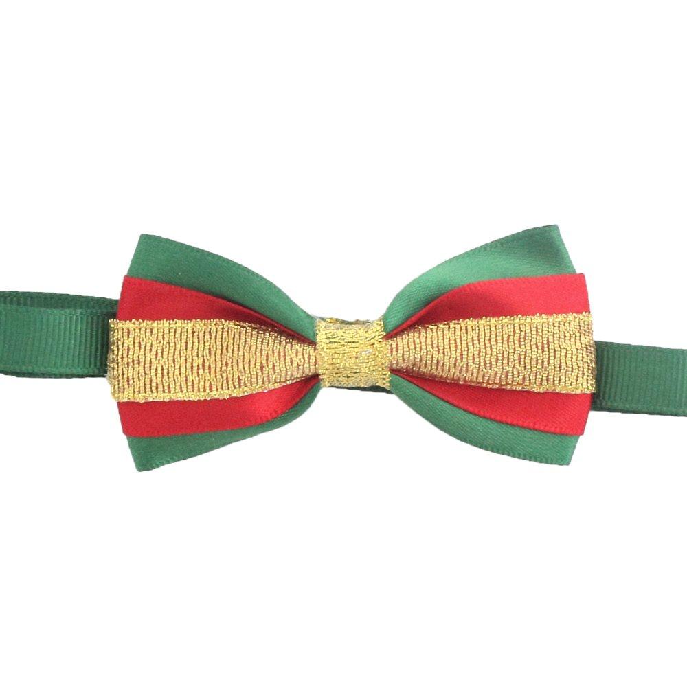 50PCs Dog Collar Handmade Bow Tie Gold Lace Merry Christmas Dress up Small Medium Dog