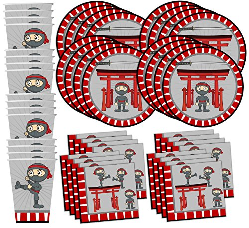 - Ninja Warrior Birthday Party Supplies Set Plates Napkins Cups Tableware Kit for 16 by Birthday Galore